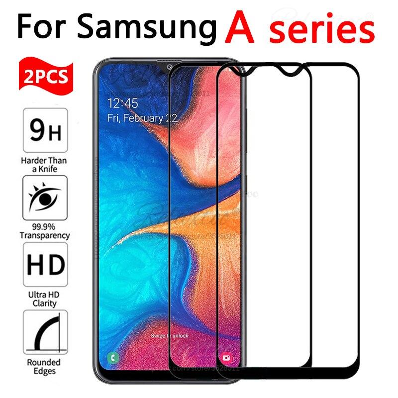 2 uds de vidrio templado para samsung galaxy a10 a20 a30 a40 a50 a60 a70 Protector de pantalla película 10 20 30 40 50 60 70 protección Glas