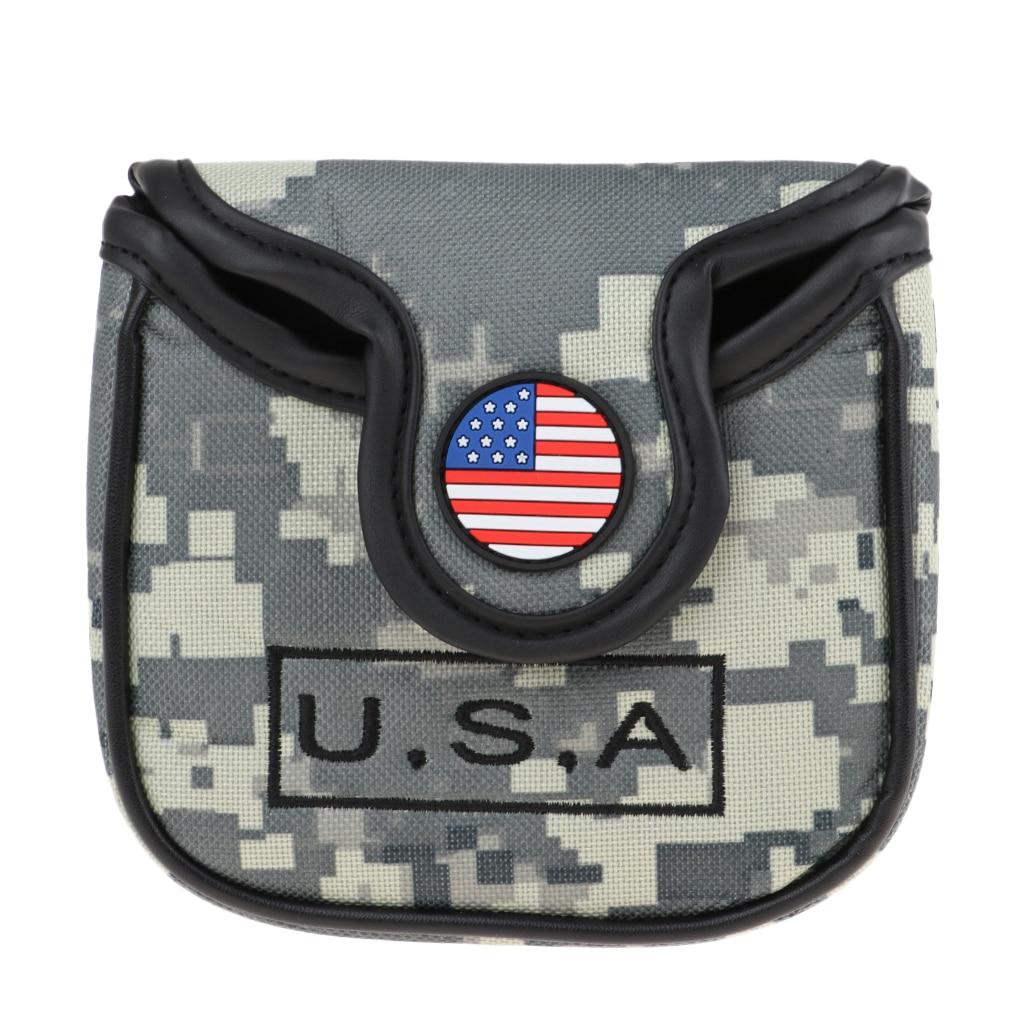 Premium eua bandeira nacional americano golfe praça mallet putter cabeça capa headcover equipamentos presente saco de golfe para o amante do golfe