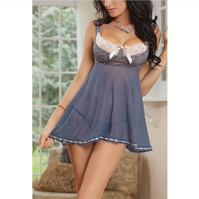 See Through Dress Thong Erotic Set Women Lace Gray Sexy Women Lingerie Lace Push Up Bra Sleepwear Babydoll Nightwear Sling Dress