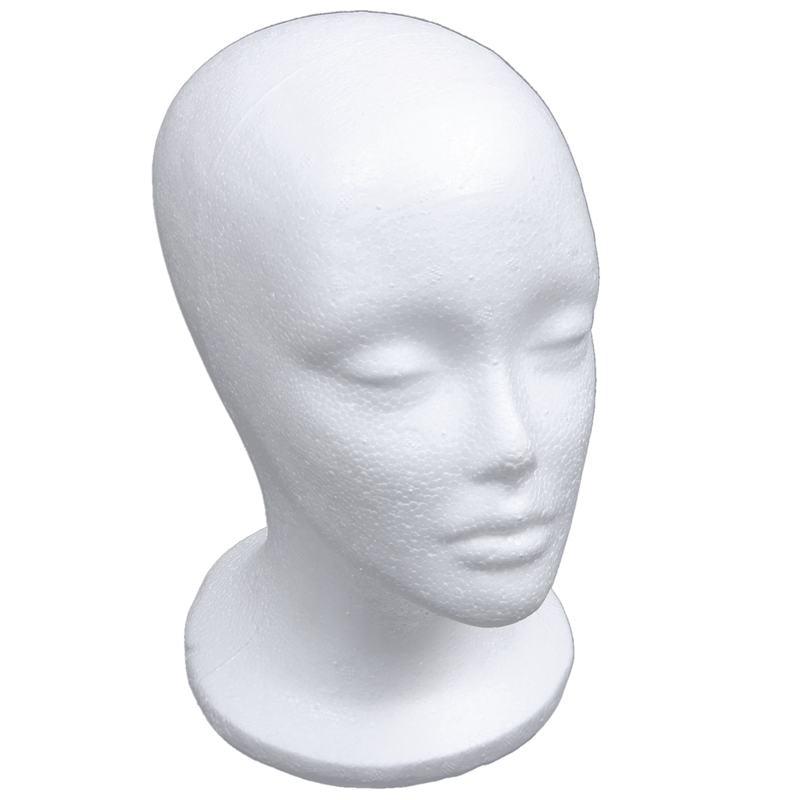 Maniquí femenino de espuma modelo de cabeza Peluca de sombrero soporte de exhibición blanco