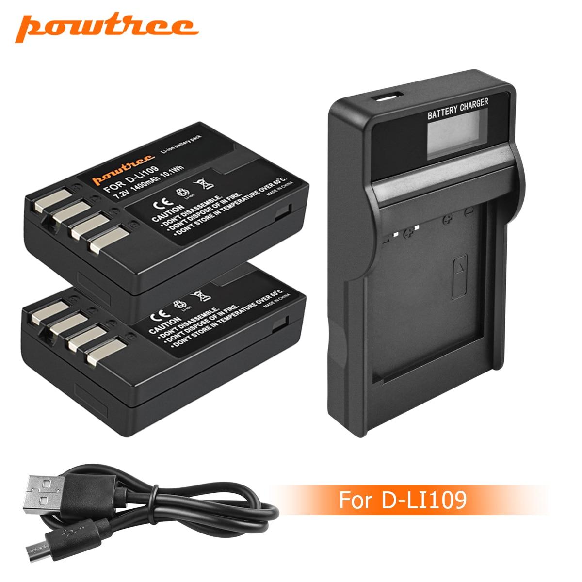 Powtree D Li109 DLi109 D-Li109 batería LCD + cargador para Pentax K-70 K70 K-50 K50 K-30 K30 K-S1 KS1 K-S2 KS2 K-r Kr L10