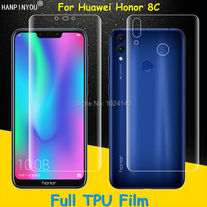 Front / Back Full Coverage Clear Soft TPU Film Screen Protector For Huawei Honor 8C 6.26