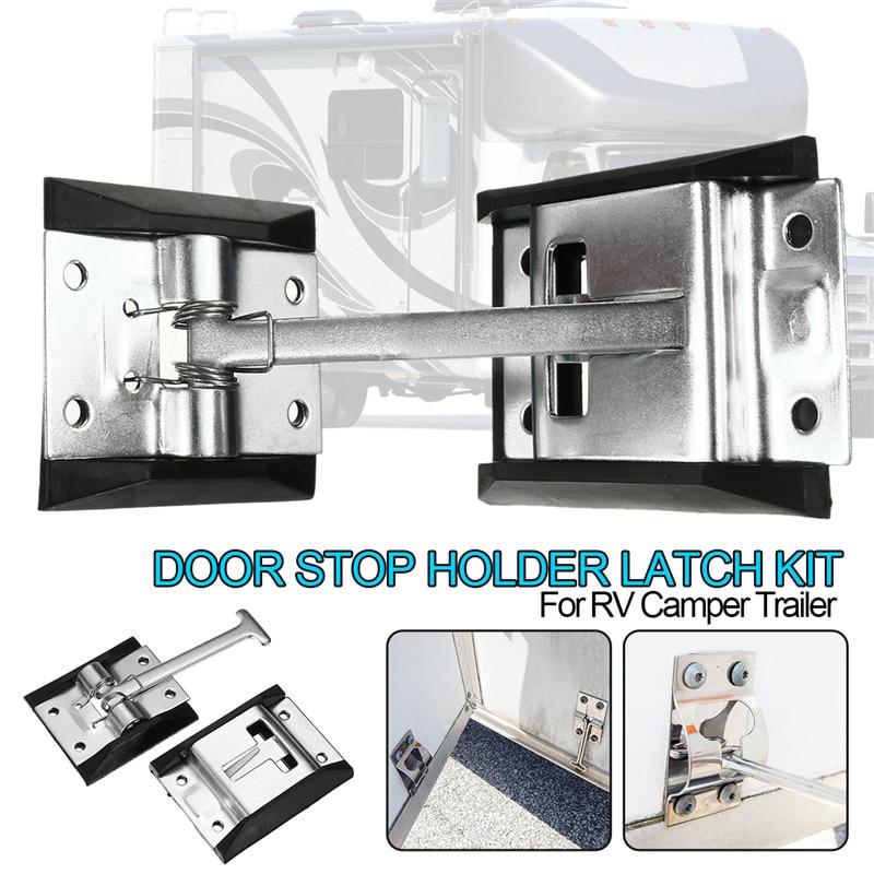 ¡Oferta! 1 Juego de 4 ganchos de bloqueo de puerta de acero de Metal-RV-Camper-trabajo de caballos-cerrado-remolque-puerta-parada-Soporte-pestillo-Kit