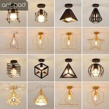 Artpad lampy sufitowe w stylu Vintage czarny biały złoty Loft Led lampa sufitowa geometryczny kształt żelazna klatka salon sypialnia domu Led