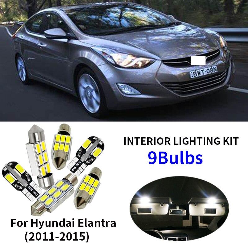 9 pcs License plate lamp LED + luzes interiores kit pacote para 2011-2015 Hyundai Elantra Dome Mapa Tronco área de carga Lâmpadas de luz