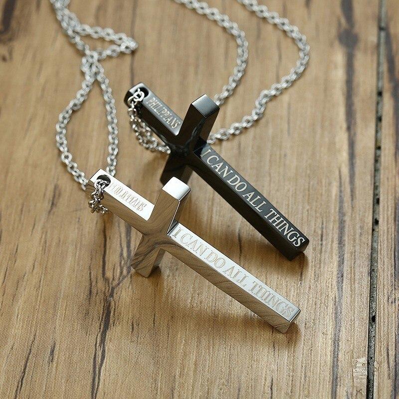Abalorio colgante de Cruz para hombre puedo hacer todas las cosas en tono plateado Jesús crucifijo religioso cristianos hombres collar