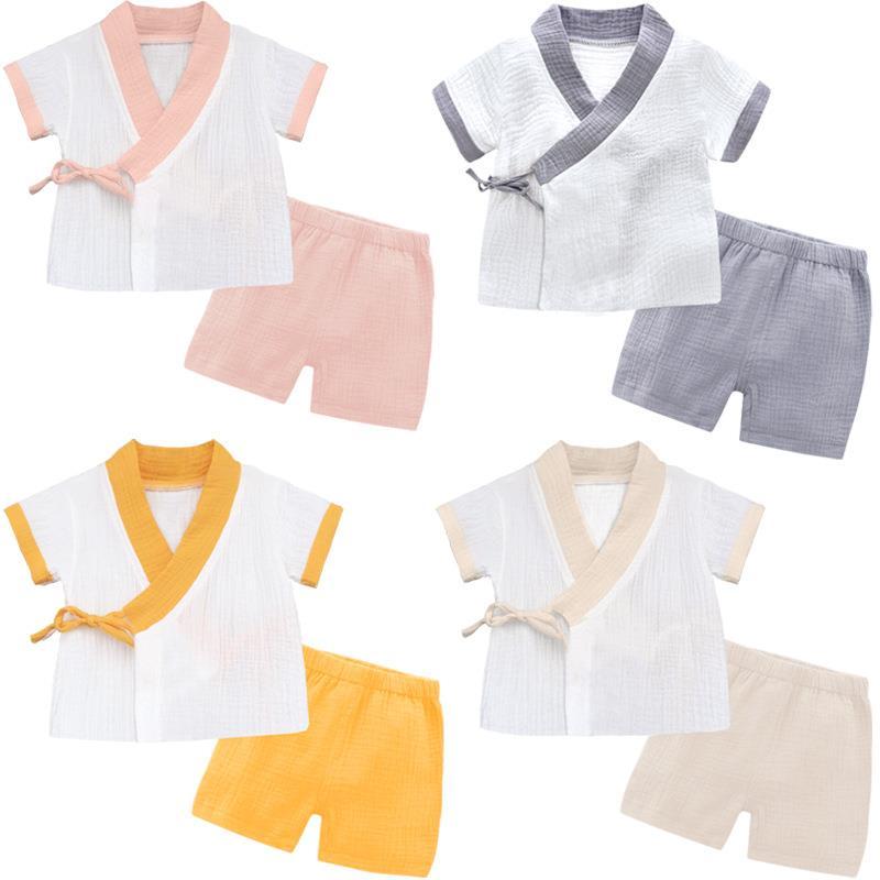 Conjunto de 2 uds de ropa para bebé recién nacido 2019, Conjunto de camiseta para niños pequeños, pantalones blancos, conjunto de ropa de niño de estilo japonés 0-3Y