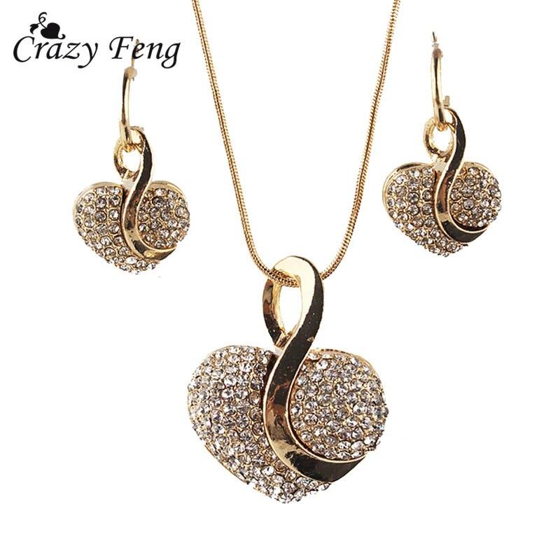 Женское ожерелье с подвеской в виде сердца, серьги золотого цвета с прозрачным Австрийскими кристаллами, бесплатная доставка