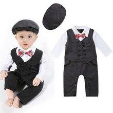 2 ADET Yenidoğan Erkek Bebek Beyler resmi kıyafet Uzun Kollu Patchwork Smokin Romper Bodysuit Kapaklar Şapkalar Düğün Parti Tulum 0- 24 M