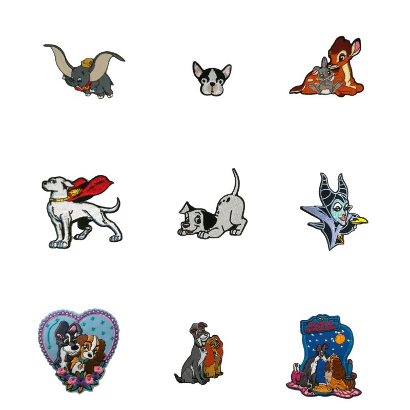 Lady & the tramp cães dumbo superman krypto superdog bambi veados e coelho tumper voando dumbo bordado remendo apliques
