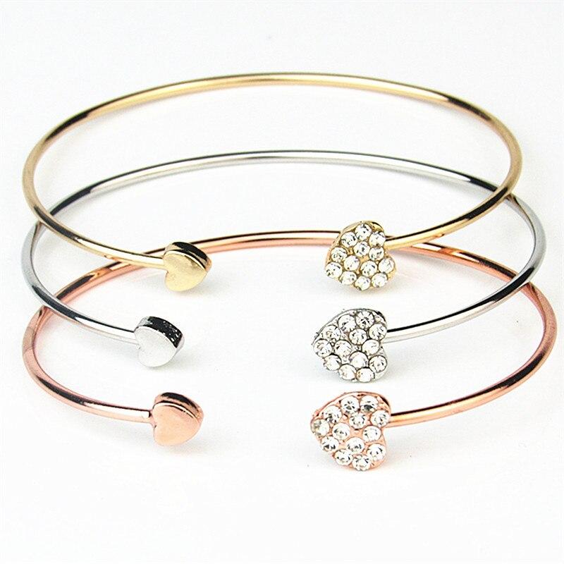 Pulseira de jóias de cristal prateado duplo coração arco manguito para mulheres pulseiras pulseiras femininas amor