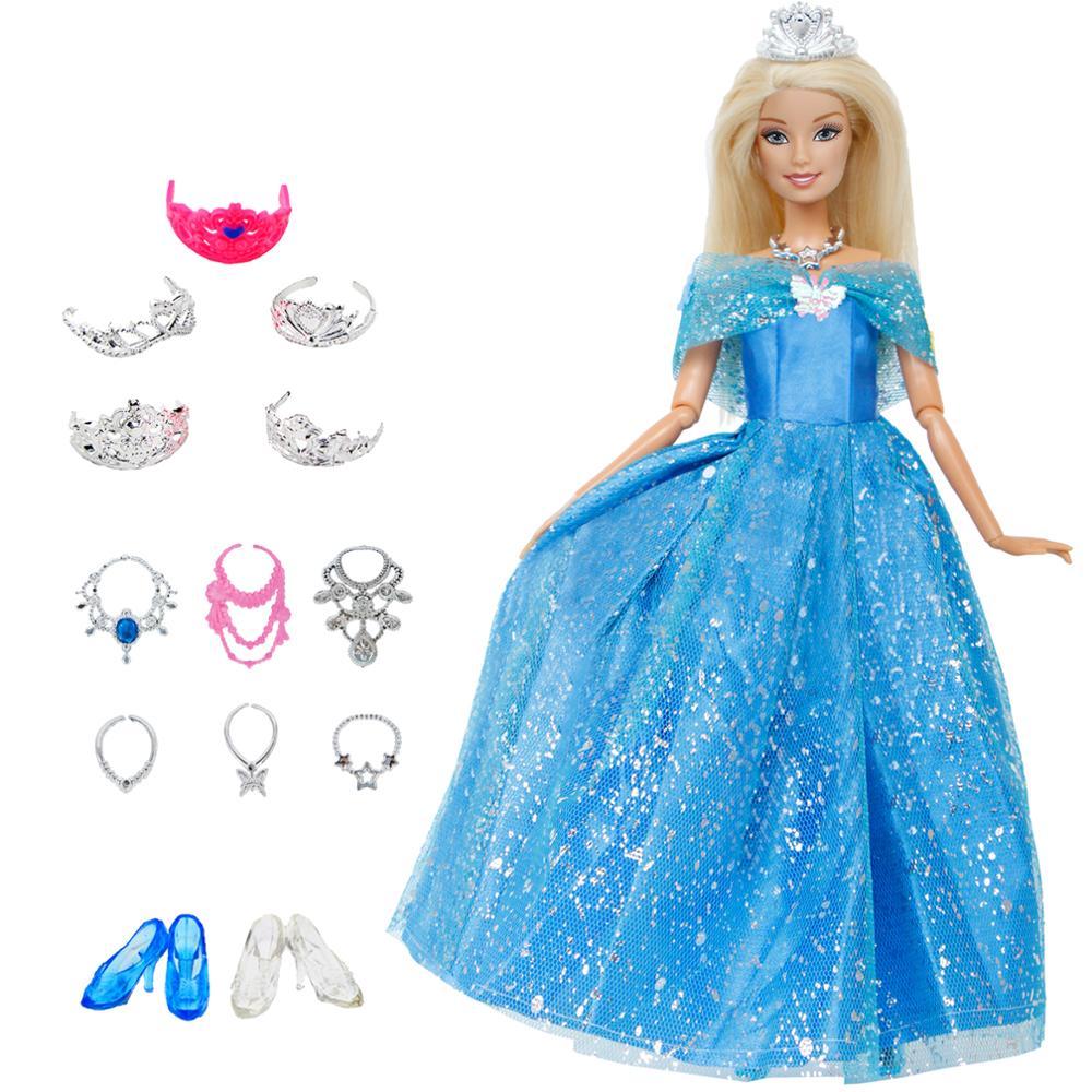 14 шт./лот = 1 кукла платье копия Золушки принцесса + 13xRandom аксессуары обувь Сумочка очки Одежда для куклы Барби игрушки