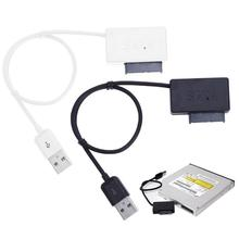 ALLOYSEED negro/blanco USB 2,0 a Mini Sata II 7 + 6 13Pin convertidor de adaptador de Cable para Notebook CD/DVD ROM Slimline conducir