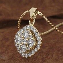 18K or Rose 2 carats diamant pendentif carré 18K or calcédoine Bizuteria femmes carré bijoux collier pierscionki pierre précieuse