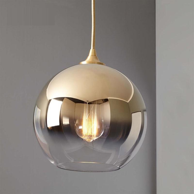 LukLoy lámpara colgante moderna de bola dorada, lámpara colgante para Loft, lámpara colgante para sala de estar, lámpara colgante para sala de estar, luminaria para sala de estar