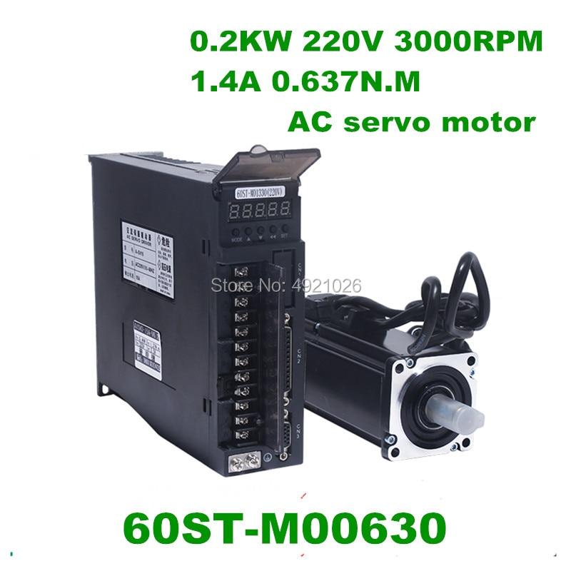 60ST-M00630 0.637N M 0.2KW AC servo motor de 220v 3000rpm + ac servoaccionamiento y Kits de motor CNC controlador de Motor especial oferta