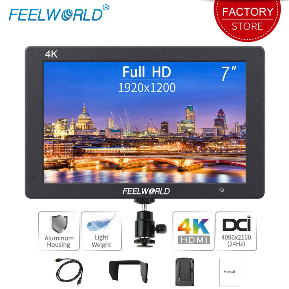 Feel world T7 7 بوصة على مجال الكاميرا DSLR مراقب 4K HDMI الترا كامل HD 1920x1200 LCD IPS عرض السكن الألومنيوم المحمولة
