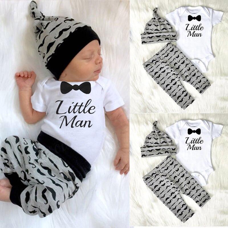 CANIS 2019 nuevo 3 uds bebé recién nacido Niño pequeño hombre Romper + Pantalones + sombrero mono trajes conjunto de algodón Clotehs 0-18M