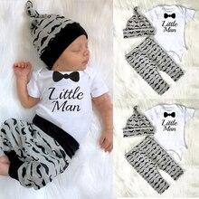 Комплект одежды для новорожденных мальчиков CANIS, 3 шт., комбинезон + штаны + шляпа, хлопковая одежда для детей 0-18 месяцев, 2019