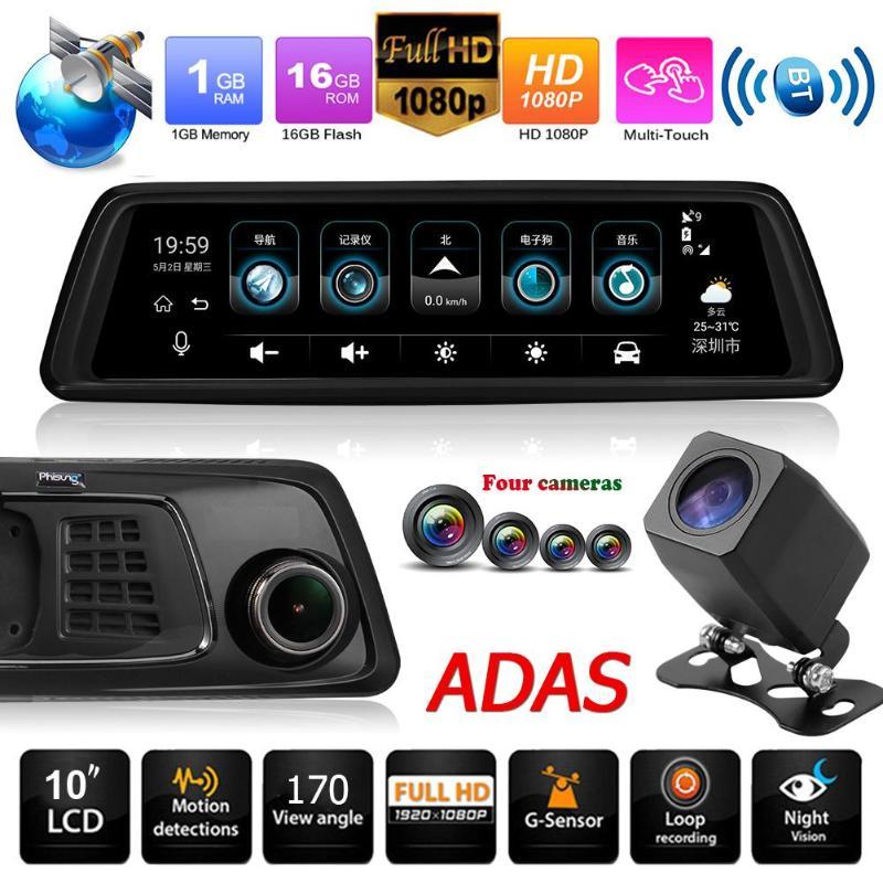 Pantalla táctil Phisung V9 9.88in IPS 4G SIM WiFi 1296P espejo retrovisor del coche DVR grabadora de vídeo GPS BT ADAS Dash Cam con 4 cámaras