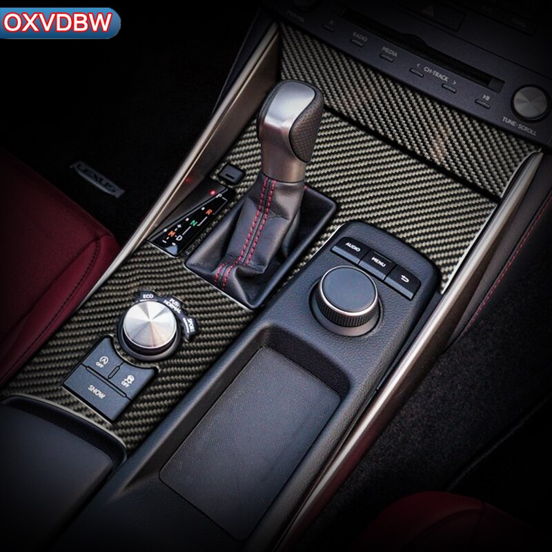 Pegatina de interior de fibra de carbono para coche, cubierta decorativa, Panel de cambio de marchas para consola central de coche para LEXUS IS300H 200 250 350 Accesorios