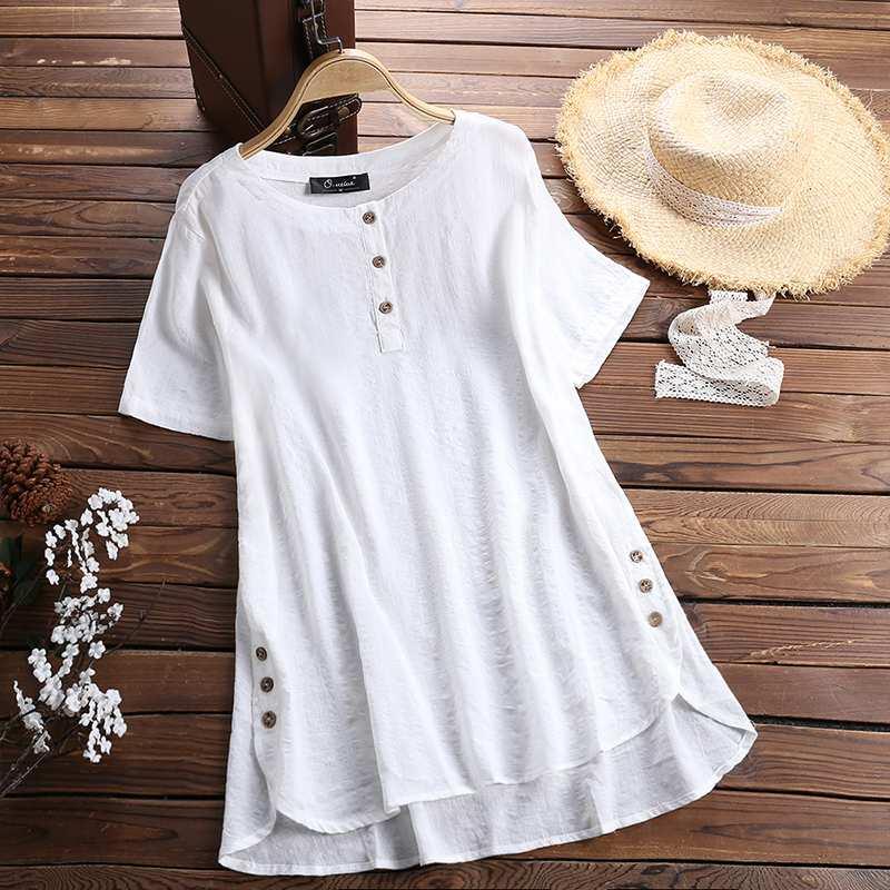 Blusa de verano 2019 para mujer, Túnica de cuello redondo de manga corta a cuadros, camisa informal holgada Vintage, camisa Retro femenina para fiesta, Blusa