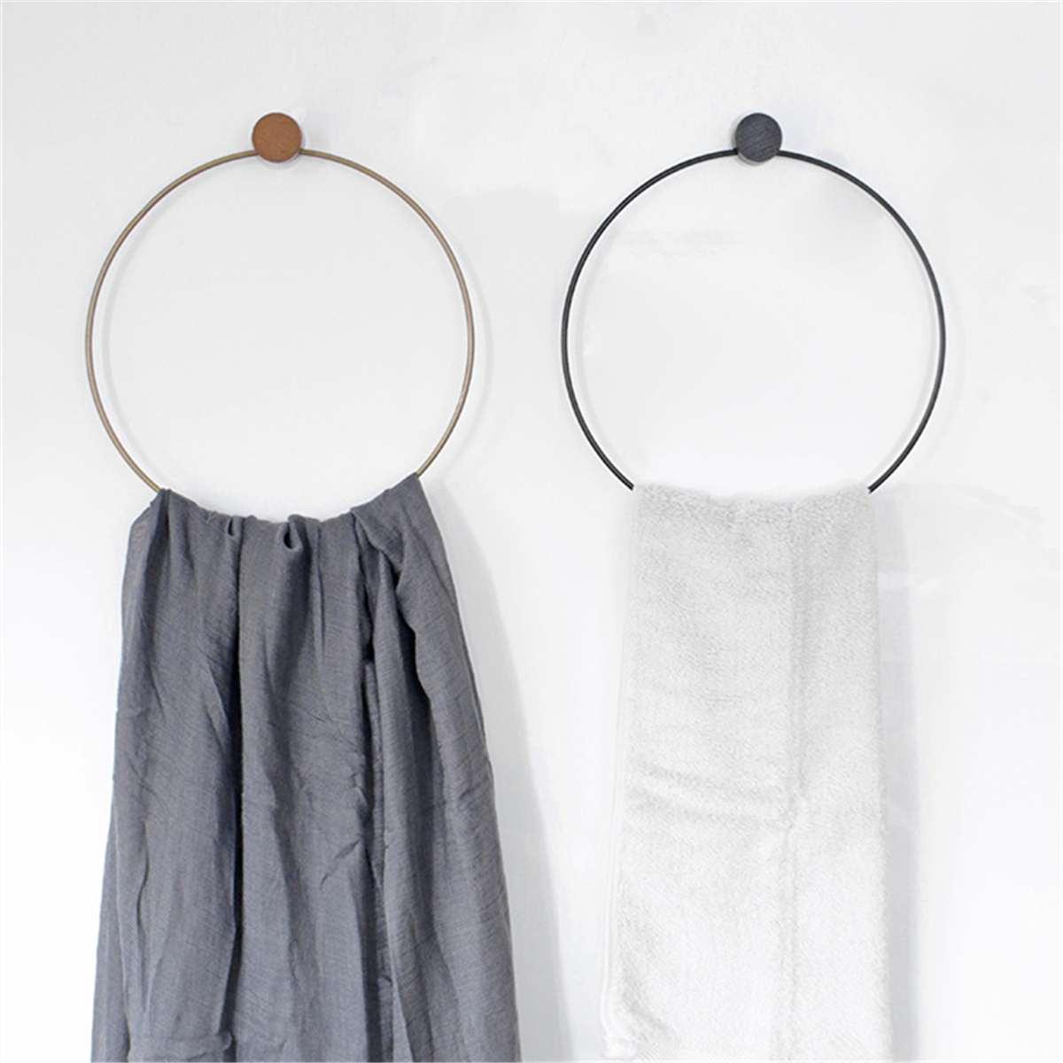 Toallero nórdico Simple para baño, soporte decorativo redondo para colgar anillas, estantería de madera de hierro para instalación sin rastro, toallero de 2 colores