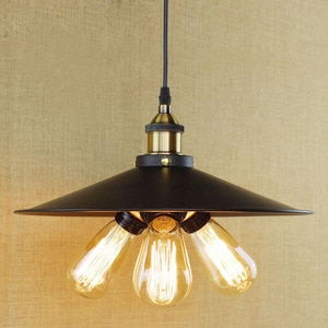 Vintage Pendant Lights Industrial Style Edison with Black Iron Lampshade Modern 3 Heads LED Pendant Lamp for Dining kitchen Room