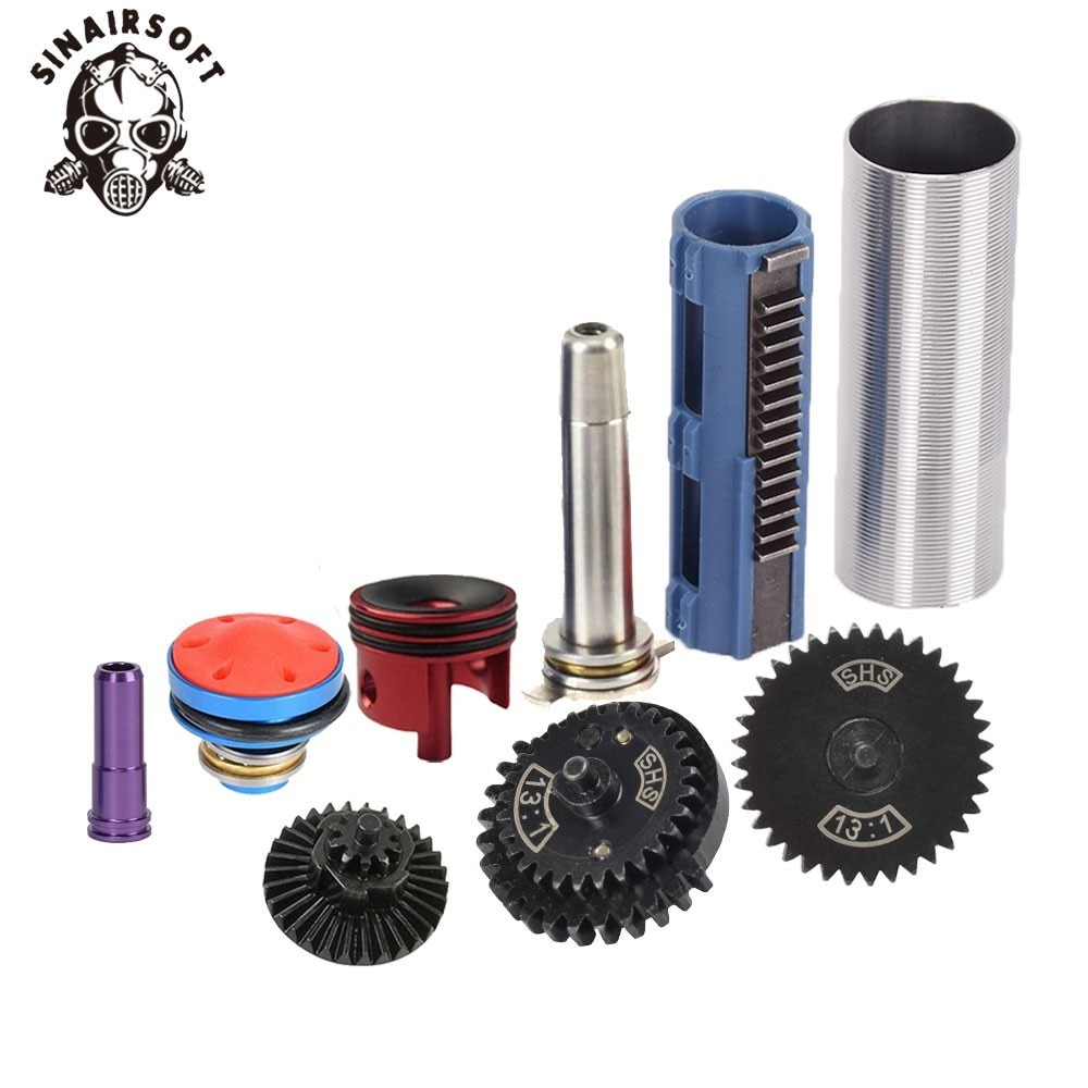SINAIRSOFT 13:1 Gear Nozzle Cylinder Spring Guide 14 Teeth Piston Kit Fit Airsoft AK M4 M16 MP5 G36 For Paintball Hunting Target