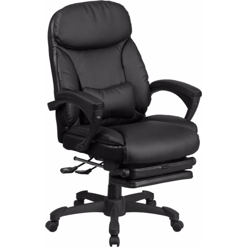 Высокая задняя черная кожа Executive Reclining поворотный офисный стул [BT 90506H GG] Офисные