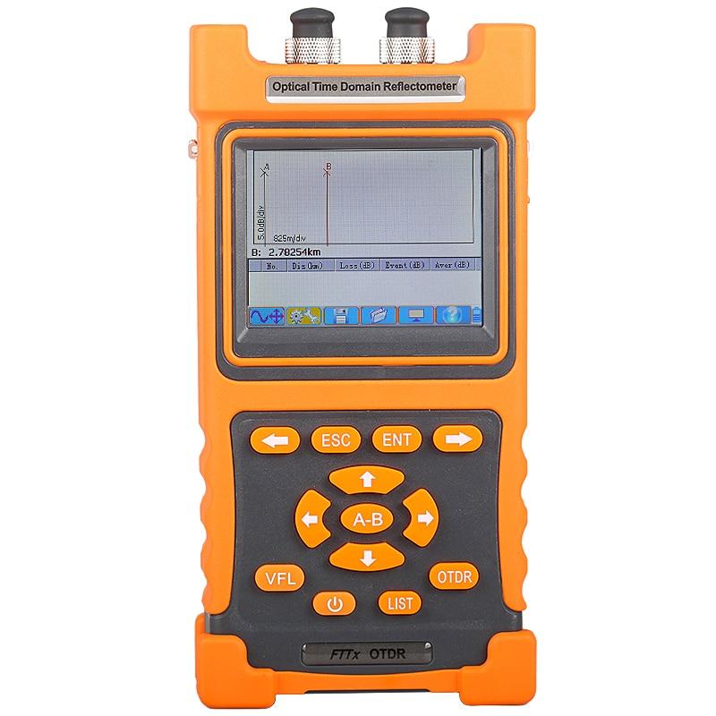 AUA5200 Handheld SM OTDR 1310nm/1550nm 28/26dB, Integrado 2MW VFL, Tela Sensível Ao Toque 70km ~ 80km VFL Optical Time Domain Reflectometer