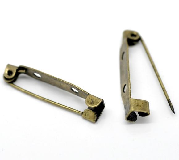 100 Bronze Tone Brooch Back Bar Pins Findings 31x6mm (B15652)