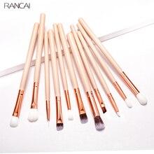 RANCAI عينيه فرشاة مجموعة المهنية 12 فرش مساحيق تجميل الحاجب كحل الشفاه فرشاة يشكلون أدوات التجميل الجمال