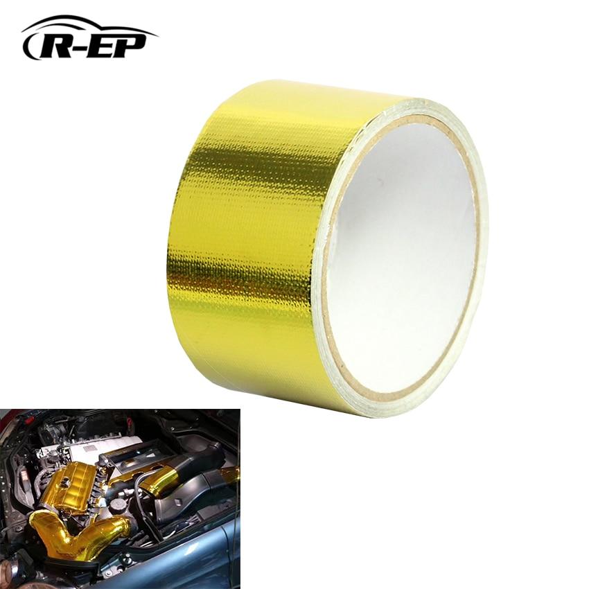 "R-EP 2 ""X5 Metro Auto adhesivo reflectante barrera térmica de revestimiento dorada apto para BMW Turbo tubo de entrada de aire XH-6052-5M"