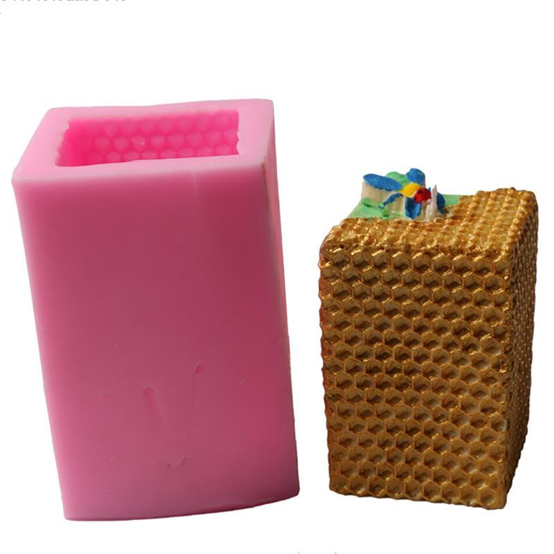 Molde de silicona de vela de panal 3d vela cuadrada Fondant DIY molde de pastel molde de pudín herramienta de decoración para hornear