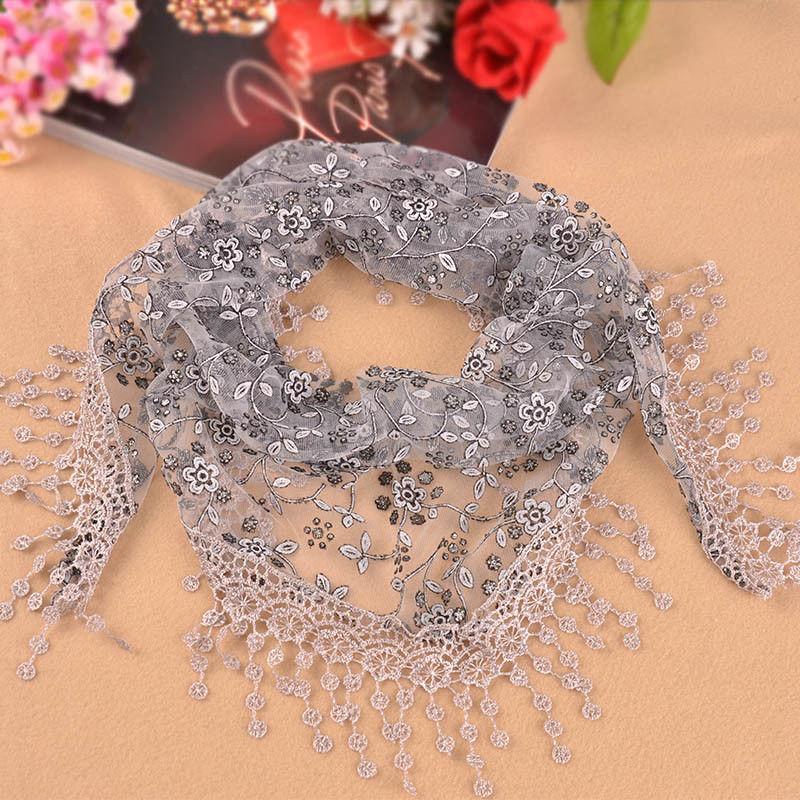 Moda feminina triângulo wrap lady xale renda sheer floral impressão cachecol cachecóis