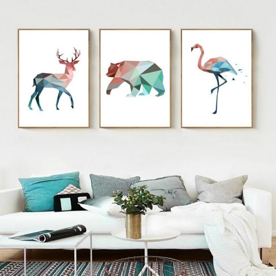 Картина SURELIFE, Геометрическая, с изображением медведя, фламинго, животных, скандинавского аниме, постер с принтом, художественные настенные ...