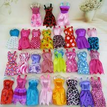 Мини-платье в случайном стиле, 20 компл./лот, цветное летнее платье без рукавов, кукольный домик, аксессуары, одежда для кукол Барби, милый набор игрушек для девочек