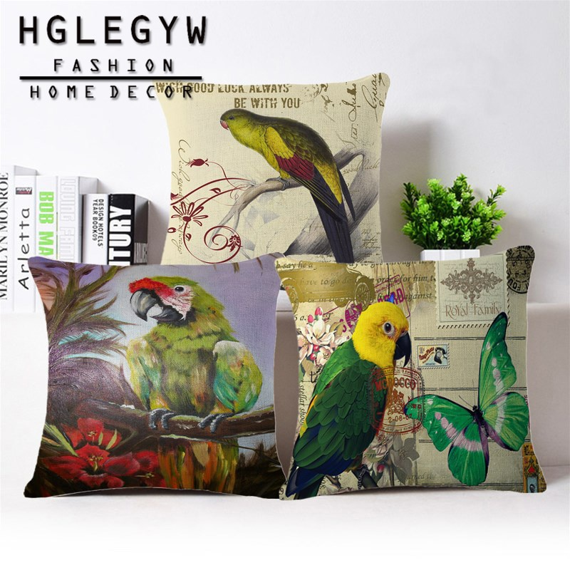 Funda para almohada con aves con loro bonito funda suave para almohada de algodón de lino cuadrado 45x45 cm fundas de almohada para oficina sofá hogar silla Decoración