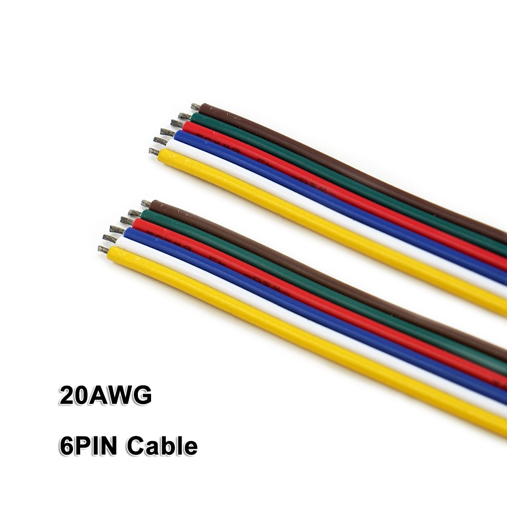 Cable de 6 pines, 10m,20AWG, Cable, para tira de LED RGB + CCT 2835 3528 5050, DC12V/24V de bajo voltaje, tira de luz LED, iluminación lineal, barra rígida