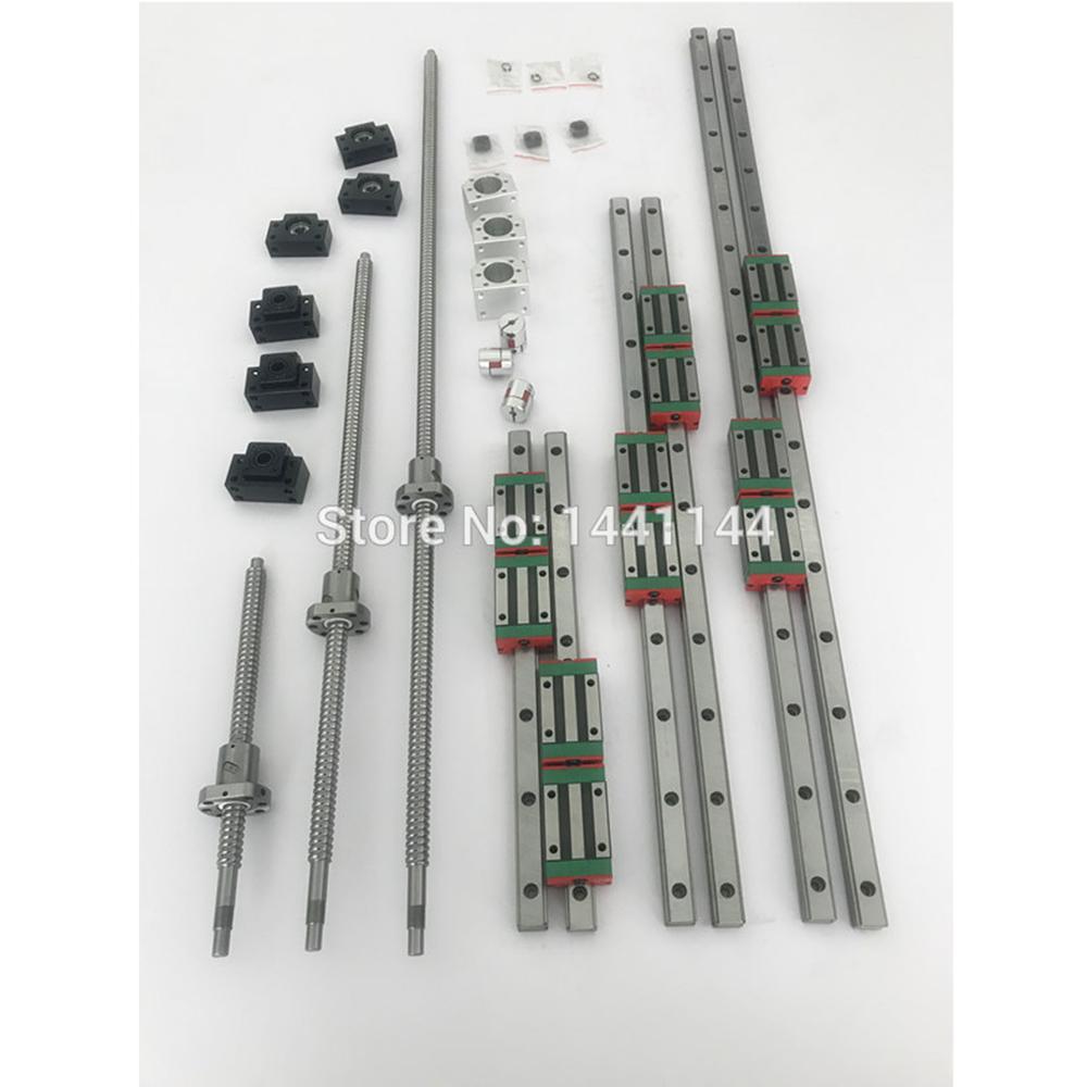 6 مجموعات HGR20 - 500/1500/2500 مللي متر دليل خطي السكك الحديدية + SFU1605 ballscrew + SFU2005 + BK/BF12 + BK/BF15 + اقتران + الجوز الإسكان ل cnc أجزاء