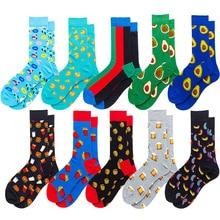 2019 date men dress color comfortable pair roller skateboard for causal reason funny wedding socks socks Avocado geometry