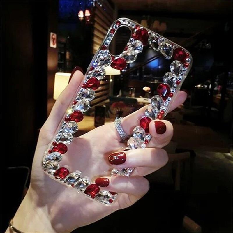 Funda de diamantes de imitación de cristal para Oneplus 8 pro 7pro 7T 6 6T one plus 5 5T fundas 3D diamante transparente hecho a mano teléfono Kilifi Coque