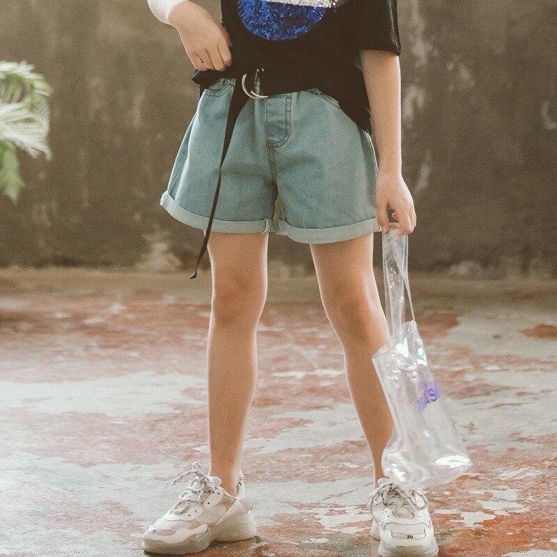 Pantalones cortos para niñas pequeñas, pantalones vaqueros de verano 2019, pantalones cortos sólidos para niños, pantalones cortos vaqueros con cinturón para niñas, ropa para niño niña