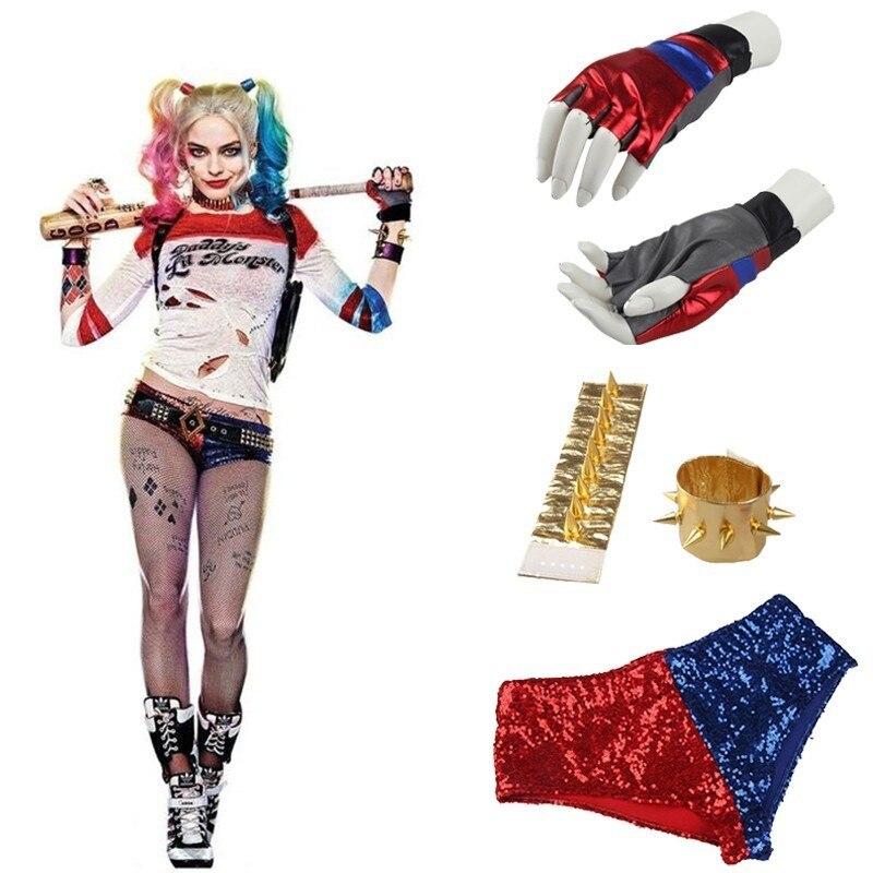 Harley Quinn Cosplay accesorios de disfraz película Suicide Squad camisa de lujo pantalones cortos Correa cinturón Wrister guante Halloween Cosplay adulto