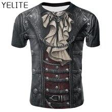 YELITE pirata disfraz T Shirt chaqueta de cuero falso camiseta moda cambiadorvariegated camiseta gótica Punk manga corta para hombre
