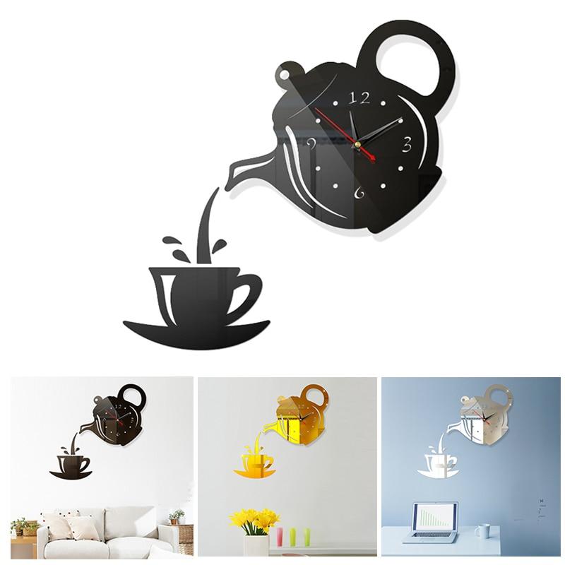 Decoración de cocina tetera espejo acrílico pegatinas de pared a la cocina taza de café de pared reloj Pegatinas comedor calcomanía hogar