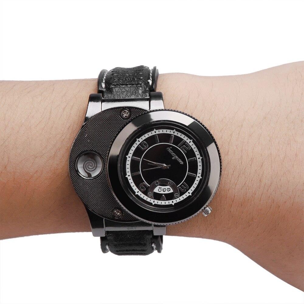 Hot Sale Hot  Flameless USB Lighter Men Wristwatches  Cigarette Lighter Rechargeable Windproof Flamless Cigarette Lighter Watch