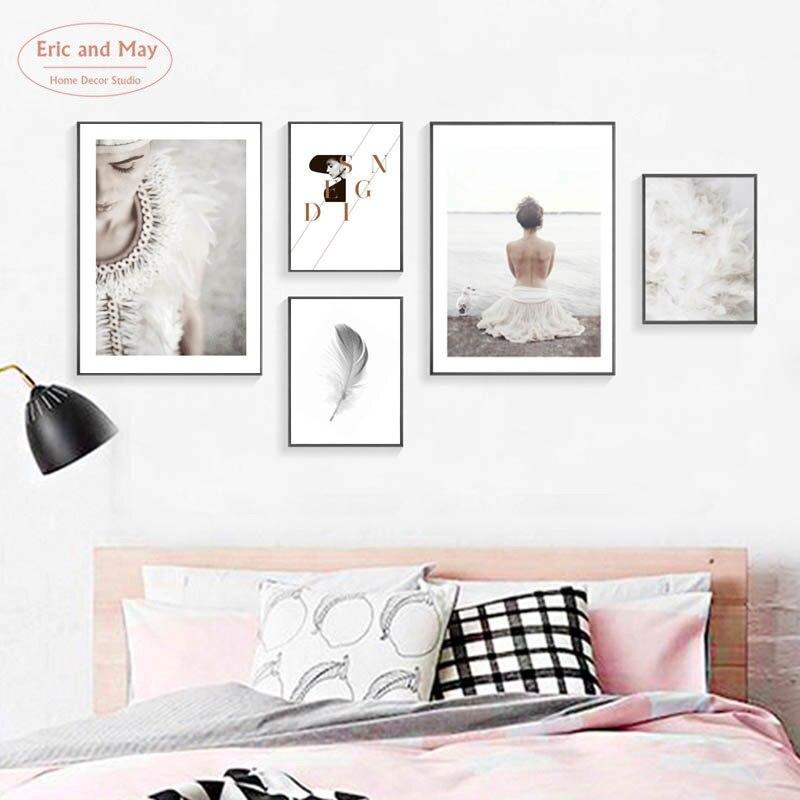 Pósteres e impresiones pintura de pluma de sueño blanco pintura de lona nórdica Cuadros decoración paisaje marino arte de pared póster arte sin marco