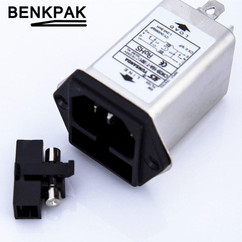 IEC 320 C14 Enchufe macho CW2B-10A-T (001) Filtro EMI de potencia 10A 125/250V con fusible